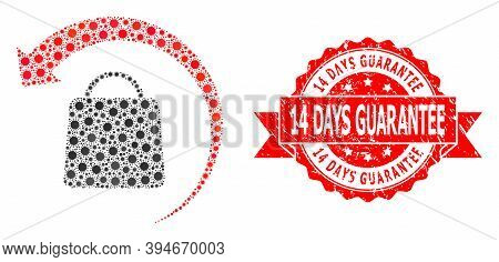 Vector Mosaic Refund Shopping Of Virus, And 14 Days Guarantee Rubber Ribbon Seal Print. Virus Cells