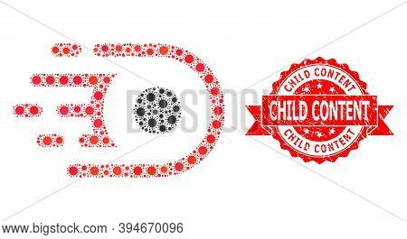 Vector Collage Speed Core Of Virus, And Child Content Textured Ribbon Seal Print. Virus Items Inside