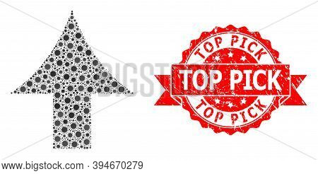 Vector Mosaic Up Arrow Of Corona Virus, And Top Pick Scratched Ribbon Stamp Seal. Virus Particles In