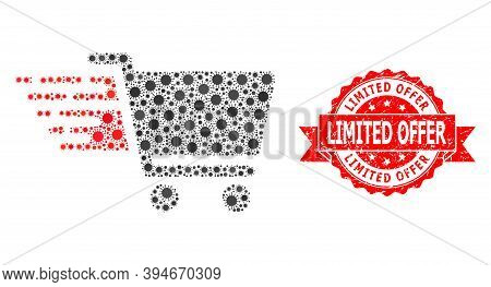 Vector Mosaic Shopping Cart Of Flu Virus, And Limited Offer Dirty Ribbon Stamp Seal. Virus Particles