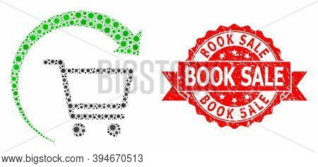 Vector Mosaic Repeat Purchase Order Of Virus, And Book Sale Grunge Ribbon Seal. Virus Items Inside R