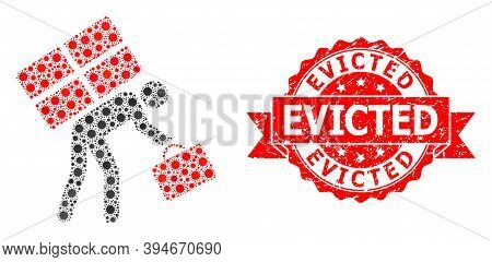 Vector Collage Refugee Person Of Sars Virus, And Evicted Rubber Ribbon Stamp Seal. Virus Items Insid