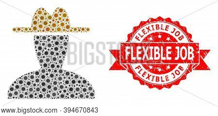 Vector Collage Peasant Persona Of Flu Virus, And Flexible Job Textured Ribbon Stamp Seal. Virus Item