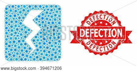 Vector Mosaic Thunder Crack Of Virus, And Defection Grunge Ribbon Seal Print. Virus Particles Inside