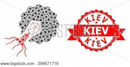 Vector Collage Virus Infecting Cell Of Virus, And Kiev Unclean Ribbon Stamp Seal. Virus Items Inside