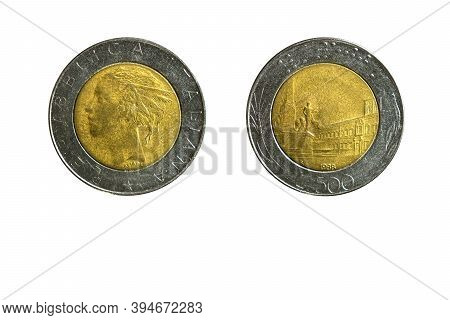 Italian Coin 500 Lire Year 1988,obverse And Reverse Side On White Background,macro Close Up