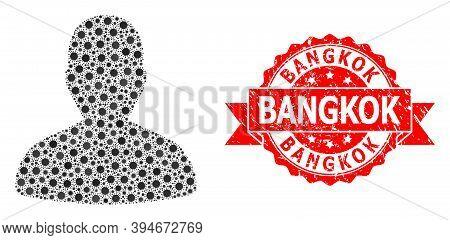 Vector Mosaic User Of Corona Virus, And Bangkok Grunge Ribbon Stamp. Virus Cells Inside User Mosaic.