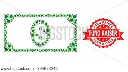 Vector Collage Usd Banknote Of Virus, And Fund Raiser Corroded Ribbon Seal. Virus Items Inside Usd B