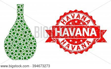 Vector Collage Wine Jug Of Sars Virus, And Havana Rubber Ribbon Seal Print. Virus Elements Inside Wi
