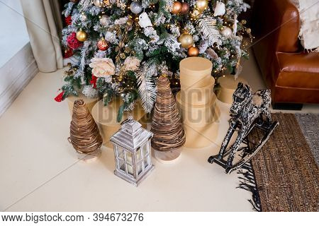 Stylish Christmas Interior Decorated In Gray Colors. Comfort Home. Armchair With Fabric Upholstery.c