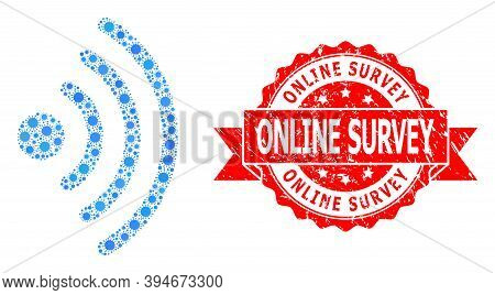 Vector Collage Wi-fi Source Of Flu Virus, And Online Survey Unclean Ribbon Seal Imitation. Virus Ite