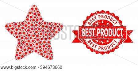 Vector Collage Red Star Of Corona Virus, And Best Product Textured Ribbon Seal Print. Virus Particle