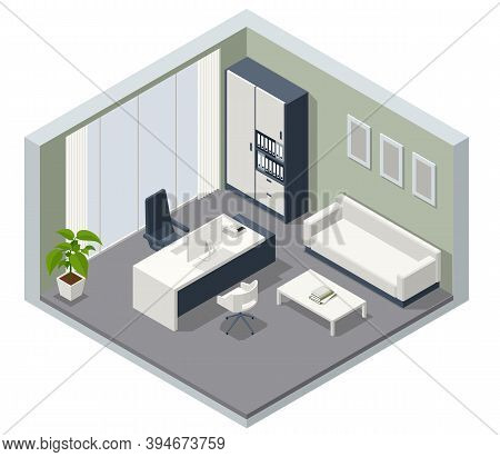 Isometric Vip Office Furniture. Ceo Office Interior With A Wooden Table, A Computer. Interior Of Sty