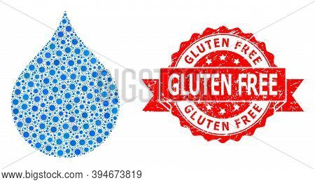 Vector Collage Water Drop Of Virus, And Gluten Free Rubber Ribbon Seal. Virus Cells Inside Water Dro