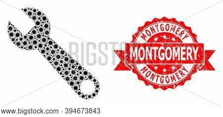 Vector Collage Spanner Of Sars Virus, And Montgomery Grunge Ribbon Stamp. Virus Particles Inside Spa