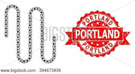Vector Collage Pipe Of Virus, And Portland Grunge Ribbon Stamp Seal. Virus Elements Inside Pipe Coll