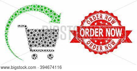 Vector Mosaic Repeat Shopping Order Of Corona Virus, And Order Now Unclean Ribbon Stamp Seal. Virus