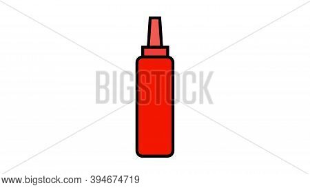 Ketchup On White Background, Vector Illustration. Red Ketchup, Fast Food Seasoning. Sauce For Dressi
