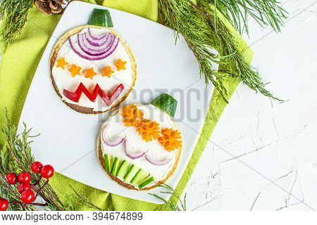 Christmas Pancake Breakfast Shaped Tree Ornaments With Fresh Vegetables. Top View, Flatly. Xmas Fun