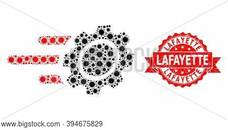 Vector Collage Rush Gear Of Flu Virus, And Lafayette Unclean Ribbon Stamp. Virus Items Inside Rush G