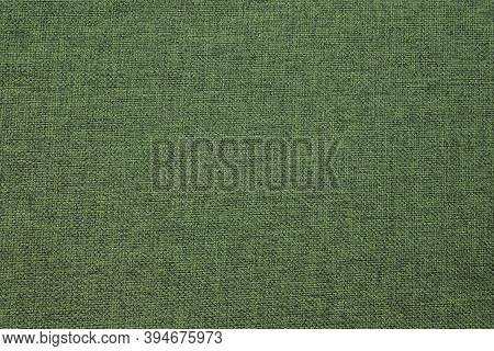 Green Fabric, Textile Backgrounds. Coarse Cotton Linen Surface. Abstract Cloth Pattern, Thread Weave