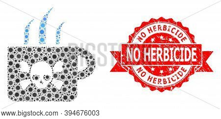 Vector Mosaic Poison Tea Of Flu Virus, And No Herbicide Textured Ribbon Stamp Seal. Virus Particles