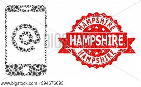 Vector Mosaic Smartphone Address Of Corona Virus, And Hampshire Rubber Ribbon Stamp Seal. Virus Item