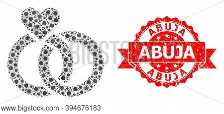Vector Collage Wedding Rings Of Virus, And Abuja Scratched Ribbon Seal Imitation. Virus Particles In