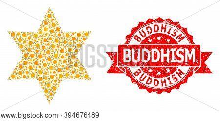 Vector Mosaic Six Corner Star Of Corona Virus, And Buddhism Grunge Ribbon Stamp Seal. Virus Items In