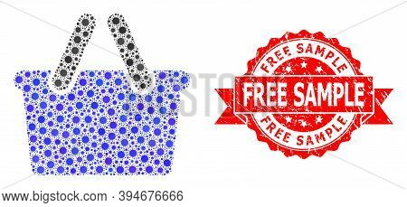 Vector Collage Shopping Bag Of Coronavirus, And Free Sample Textured Ribbon Stamp Seal. Virus Elemen