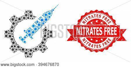 Vector Mosaic Vaccine Industry Of Coronavirus, And Nitrates Free Textured Ribbon Seal. Virus Element