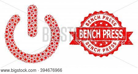 Vector Collage Turn Off Of Virus, And Bench Press Dirty Ribbon Stamp Seal. Virus Elements Inside Tur