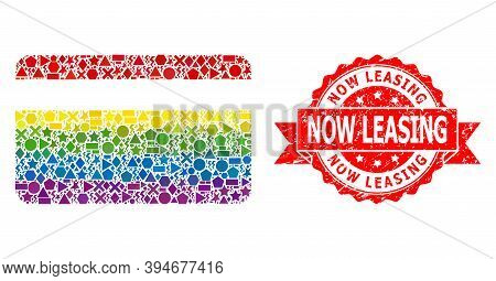 Rainbow Gradient Colored Geometric Mosaic Credit Card, And Now Leasing Dirty Stamp Seal. Red Stamp S
