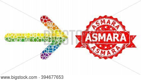 Bright Gradient Colorful Geometric Collage Right Arrow, And Asmara Rubber Stamp. Red Stamp Includes