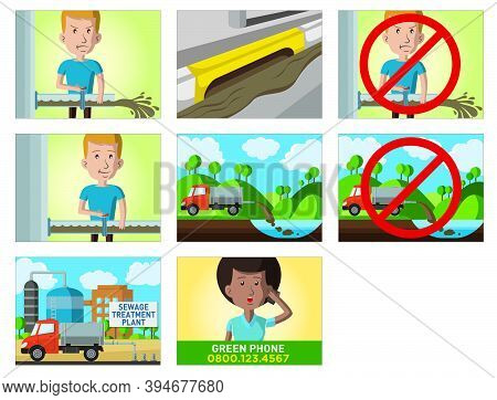 Comic Strip About The Consequences Of Throwing Waste Liquid Without Proper Treatment, In Storyboard