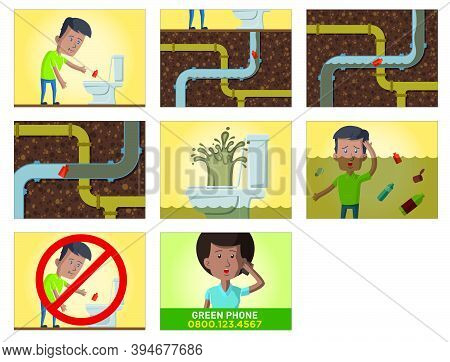Comic Strip About The Consequences Of Throwing Garbage In The Toilet, On A Storyboard About The City