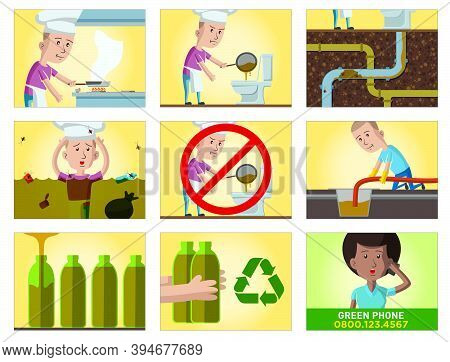 Comic Strip About The Consequences Of Throwing Kitchen Oil Without Proper Treatment, In Storyboard A