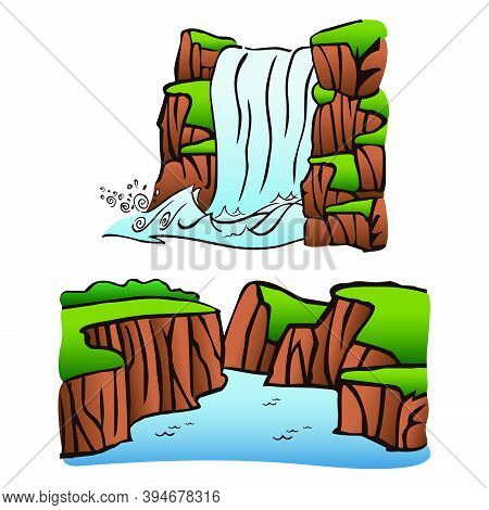 Drawing Of Waterfall And River Crossing A Canyon, In Comics Style. Vector Illustration.