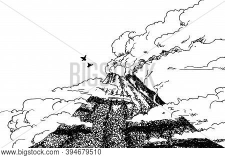 Ash Cloud Coming From The Vent Of The Arenal Volcano In The Middle Of The Forest. A Famous Volcano C