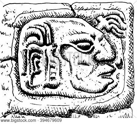 Profile Portrait Of A Man Carved In Stone At The Old City Of Copan. An Archaeological Site Of The Ma