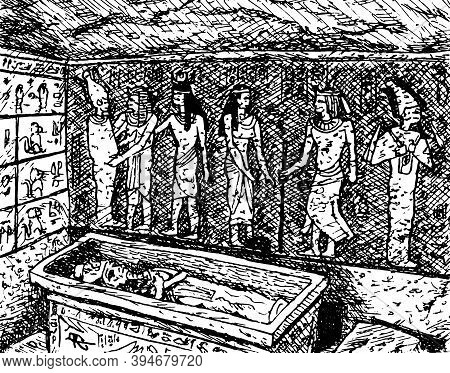 Hieroglyphs And Ancient Egyptians Painted On Walls Of The Tutankhamun Mortuary Chamber, In The Valle