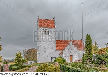 A Medieval White Stone-churh With A Belltower In The Danish Countryside, Tuse, Denmark, November 5,