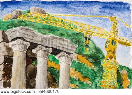 Columns With Ionic Capitals Aside Modern Crane At The Archeological Site Of Ephesus. A Historical To