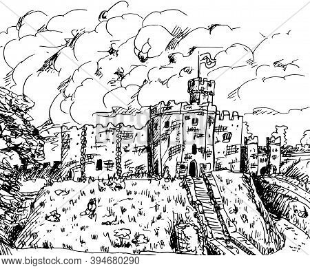 Towers And Stone Walls With Merlons In A Castle On The Top Of A Hill. In The Countryside Of Wales, U