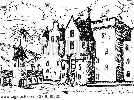 Front Facade Of Blair Atholl Castle With Pointed Turrets. In The Middle Of Scottish Highlands, North