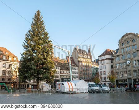 Strasbourg, France - November 9, 2020: Installation Of A Large Christmas Tree In The Center Of Stras