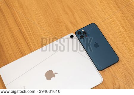 Paris, France - Nov 11, 2020: Above View Of New Iphone 12 Pro Max 5g Smartphone Model By Apple Compu
