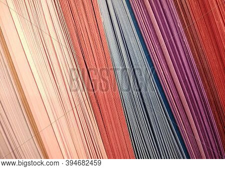 Abstract Background Made Of Colourful Rows Of Cardboard Papers. Set Of Colored Cardboards