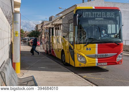 Campos, Balearic Islands/spain; November 2020: Bus Of Line Of The Island Of Majorca That Unites The