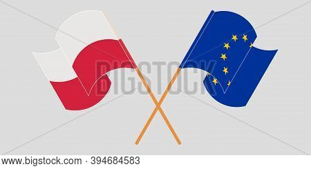 Crossed And Waving Flags Of Poland And The Eu. Vector Illustration